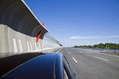 Highway with protection walls Stock Photography