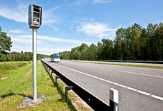 Highway and radar speed camera Royalty Free Stock Image