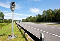 Highway and radar speed camera Royalty Free Stock Image