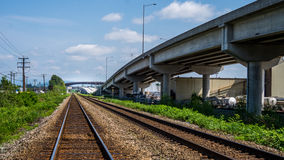 Highway and Rail Transportation Royalty Free Stock Photo