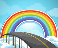 Highway and rainbow in the sky Stock Photo