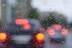 Highway in rainy evening Royalty Free Stock Photo