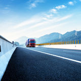 Highway and red truck Royalty Free Stock Photography