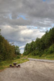 Highway rest place. Highway rest place in norwegian mountains Stock Photo