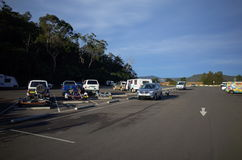 Highway rest stop parking lot in Australia. Highway rest stop parking lot at Mooney Mooney in New South Wales Australia. Hawkesbury river rest area at Pacific Royalty Free Stock Photography
