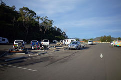 Highway rest stop parking lot in Australia. Highway rest stop parking lot at Mooney Mooney in New South Wales Australia. Hawkesbury river rest area at Pacific Stock Photography