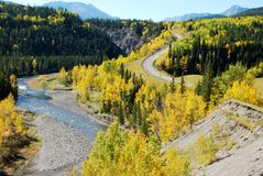 Highway and river in a beautiful shape Royalty Free Stock Photography