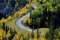 Highway and river in a beautiful shape Stock Photos