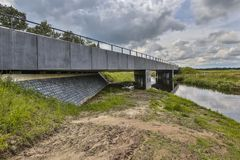 Highway River bridge with wildlife underpass royalty free stock photography
