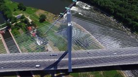 Highway on the river. High bridge stock video