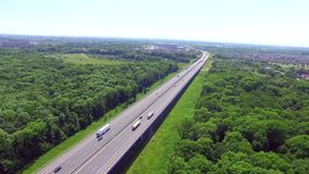 Highway on the river. High bridge stock footage