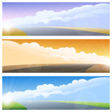 Highway road background set Stock Photos