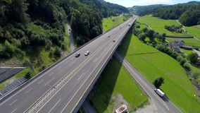 Highway road bridge in a valley stock footage