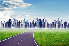 Highway road with city Royalty Free Stock Photography