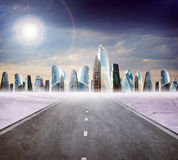 Highway road with city Stock Photos