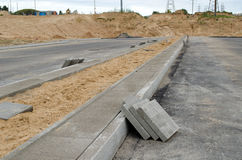 Highway road construction. pavement tiles sidewalk Stock Photography