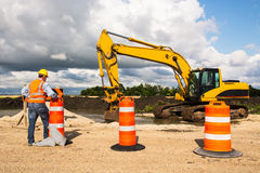 Highway road construction worker Royalty Free Stock Photos