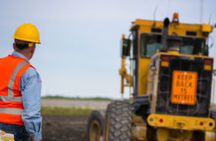 Highway road construction worker Stock Photo