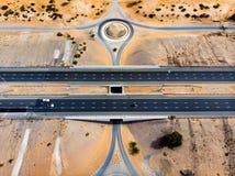 Road in the desert aerial view. Highway road in the desert aerial view royalty free stock images
