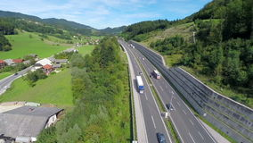 Highway road full of traffic stock footage