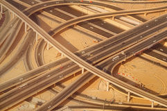 Highway road intersection in Downtown Burj Dubai. Royalty Free Stock Image