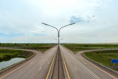 Highway with a road junction view from the bridge without cars.  royalty free stock image