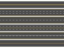 Highway road marking. Horizontal straight asphalt roads, modern street roadway lines or empty highways markings vector royalty free illustration