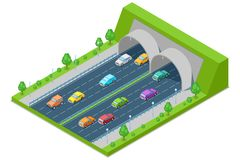 Highway road passes through tunnel in mountain, vector isometric 3D illustration. Transport, road construction concept royalty free illustration