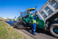 Highway Road Surfacing Asphalt Machines Stock Photography