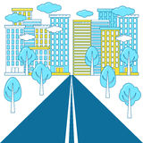 Highway road to a big city. royalty free illustration