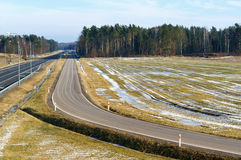 Highway, road, transportation, drive, city, landscape, way, nature, trips, forest, tree Royalty Free Stock Images