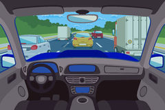 Highway, road viewed inside automobile. Vector illustration Royalty Free Stock Photos