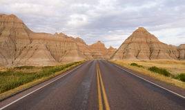 Highway into Rock Formations Badlands National Park South Dakota Royalty Free Stock Photography