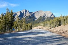 Highway in Rockies. Rough highway in Canadian Rockies at Kananaskis Country Alberta Canada stock photos