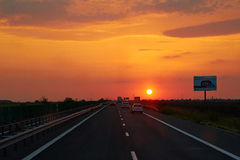 A2 Highway in Romania at sunset Royalty Free Stock Photography