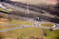 Highway roundabout. Seen from plane, aerial view Stock Photo
