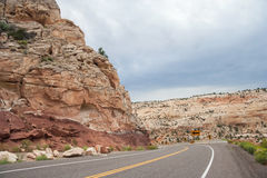 Highway running through Grand Staircase in Escalante National Monument Utah USA Royalty Free Stock Photos