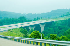 Highway runs through mountains  of west virginia Stock Image