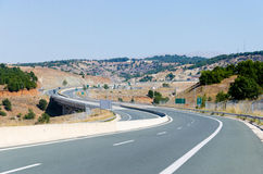Highway S curve road wide shot Royalty Free Stock Images