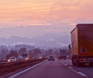 Highway from Salzburg to Munich in winter at sunset Royalty Free Stock Image