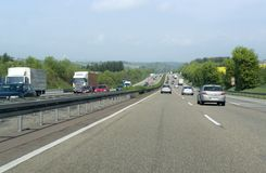 Highway scenery in Southern Germany Royalty Free Stock Images