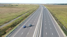 Highway seen from helicopter stock video footage