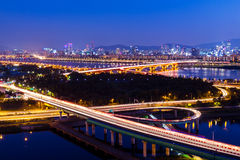 Highway in Seoul city. At night Stock Images