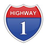 Highway sign. Computer generated image Royalty Free Stock Photos