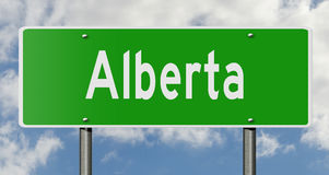 Highway sign for Alberta Canada. A 3d computer rendering of a green highway sign for Alberta Royalty Free Stock Photo