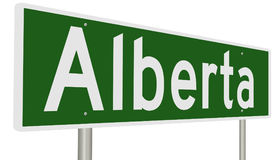 Highway sign for Alberta. A 3d rendering of a green highway sign for Alberta Canada Royalty Free Stock Images