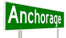 Highway sign for Anchorage Alaska. A 3d rendering of a green highway sign for Anchorage Royalty Free Stock Photography