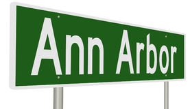 Highway sign for Ann Arbor Michigan. A 3d rendering of a green highway sign for Ann Arbor royalty free illustration