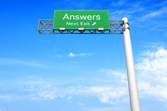 Highway Sign - Answers Stock Photos