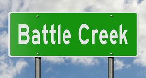 Highway sign for Battle Creek Michigan. A 3d rendering of a green highway sign for Battle Creek Stock Photo